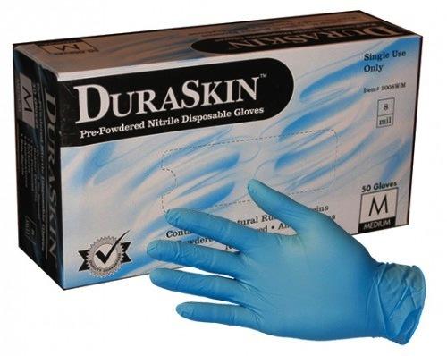Duraskin_2018W guante de nitrilo 8ml azul desechables. Libre de polvo, grado industrial, No estéril, Micro-textura, Ambidiestro, isO 9001 aprobado en fábrica, Cumple con la regulación federal de contacto de alimentos, 100% nitrilo, Tallas: S ~ 2XL, 50 pz por paquete