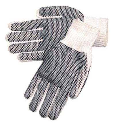 Natural de punto blanco hilo de algodón / poliéster, puntos de PVC negro en ambos lados, reversible (alternativa)